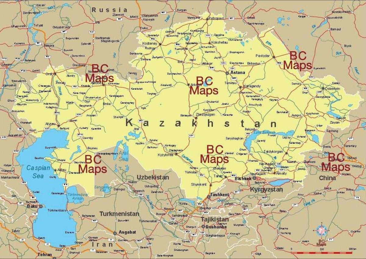 Kazahsztan Terkep Kazahsztan Varosok Terkep Kozep Azsia Asia